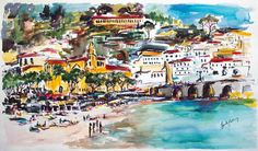 Amalfi Coast Italy Large Watercolor and Ink Original , Watercolor and Ink - Ginette Fine Art, The Art of Ginette Callaway  - 1