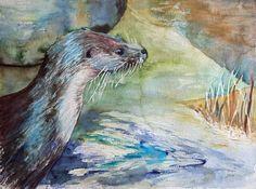 Verspielt und neugierig © ein Fischotter in einem Aquarell von Frank Koebsch