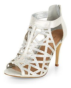Silver Diamante Cut Out High Vamp Heels  | New Look