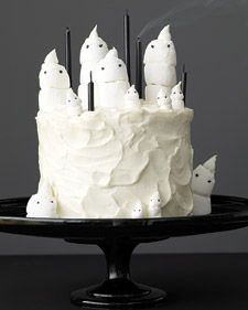 To make the ghosts, you will need a miniature marshmallow, 2 regular marshmallows, and 2 chocolate sprinkles. Twist top of miniature marshmallow into a point by rolling it between your thumb and index finger. Trim all 3 marshmallows, and stick together. Twist top 2 slightly to shape. With a toothpick, poke holes, and insert sprinkle eyes.