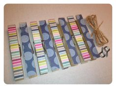 NEW KIT 8/30/12 Clothespin Clothesline Photo Hanging Kit Blue by owlpaperscissors, $10.00