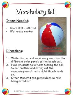 Spanish activities: This idea could be used to practice Spanish verbs - kids toss the ball to each other and act out the verb their thumb is touching. Spanish vocabulary could include: saltar, sentarse, correr, llorar, cantar, bostezar, bailar, etc. http://theorganizedclassroomblog.com/index.php/ocb-store/view_document/216-beach-theme-activities-sampler-pack