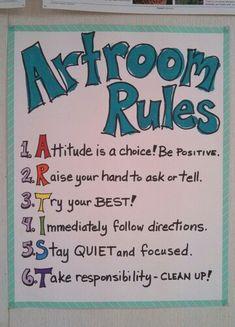 Artroom Rules poster by Art teacher Jennifer Lipsey Edwards.