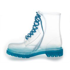 Blue Banana Clear Boot (Blue) ($22) ❤ liked on Polyvore featuring shoes, boots, blue shoes, clear shoes, clear boots, blue color shoes and blue boots