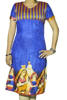 ABHISAR Kurti 003.Main:This Blue Cotton-Viscose Long Kurta is a fusion of elegance with ethnicity.The multi-colored woven vibrant yoke and the Portraits of Rajasthani Banjara women add aura to the dress. It's light weight and its soft texture makes it suitable for regular wear. When paired with minimum jewelries, it's perfect for office or a day out. Wear it with heavy jhumkas and bangles for a desi diva look in any celebration.Match the kurta with any cotton or silk bottom for the perfect…