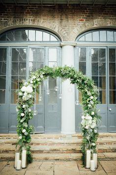 Wedding arch New Orleans courtyard Wedding Themes, Wedding Decorations, Courtyard Wedding, New Orleans Wedding, Floral Wedding, Florals, Arch, Bouquet, Wreaths
