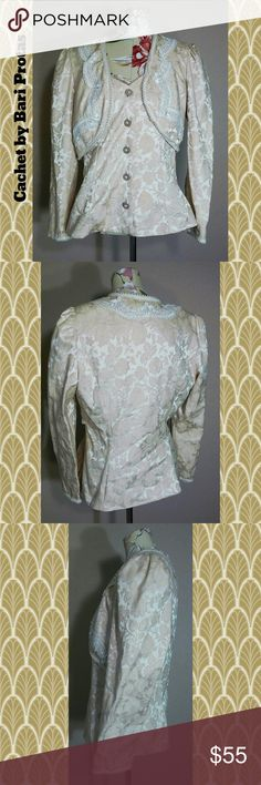 1970s Brocade Blouse A gorgeous cream color floral brocade layer blouse with long sleeves and details of faux pearl and applice. No major visible flaws. Tags: vintage retro brocade formal evening wear 1970s bari protas cachet lovely floral Vintage Tops Blouses