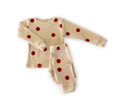 organic cotton spotted pajamas - red dot