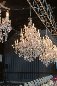 'Katerina' chandeliers, hand-threaded with European lead crystal.    Photograph by Tony Amos.