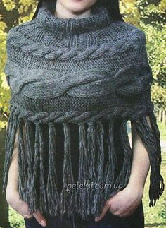 Cape on the shoulders of the spokes.  Description of knitting scheme