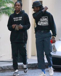 ASAP Rocky wears a Midnight Studios Hoodie and Adidas Track Pants by Ferrari Best Mens Fashion, Dope Fashion, Asap Rocky Outfits, Asap Rocky Fashion, Lord Pretty Flacko, Mode Hip Hop, Look Cool, Aesthetic Clothes, Streetwear Fashion