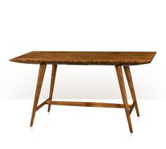 Desk, Maple, Figured Ofram Veneer, 1 Drawer.