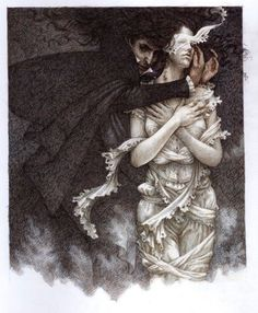 by nicky raven, illustrated by yvonne gilbert, this particular version of dracula has some stunning artwork in it. see: Dracula: Ad. Dracula, Dark Fantasy, Fantasy Art, Illustrations, Illustration Art, Estilo Dark, The Ancient Magus, Vampires And Werewolves, Creatures Of The Night