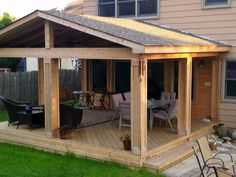 How to Build A Covered Porch Roof . How to Build A Covered Porch Roof . Gable Roof Patio Cover with Wood Stained Ceiling Pergola With Roof, Pergola Kits, Pergola Ideas, Decks With Roofs, Cheap Pergola, Porch Builders, Porch Roof, Front Porch, Porch Bar
