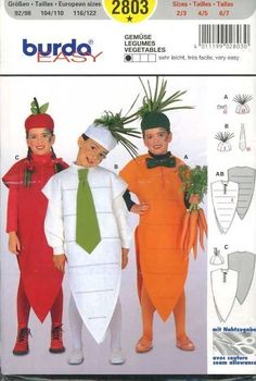 UNCUT Burda 4370 Kids Very Easy Sew Kids Vegetable Costume Pattern sizes 2 to 7 #BurdaPatterns #CostumePatterns An idea - add wings, put feelers on head piece & you'd have a bug!