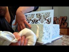 Cake stenciling with buttercream. Great step by step tutorial