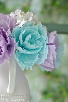 Crepe paper flowers in a jug | Blogged at Torie Jayne.com Bl… | Flickr