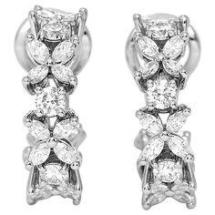 Tiffany & Co. Victoria Diamond Platinum Alternating Hoop Earrings | 1stdibs.com