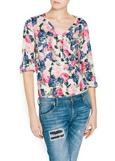 Blusa floral cuello pico manga larga-Rosado claro EUR€21.55
