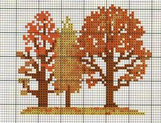 Fall woodland theme trees cross stitch