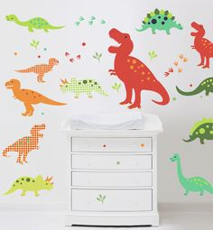 Love these dinosaur decals on the wall for kids bedrooms and play rooms #pinparty #nursery