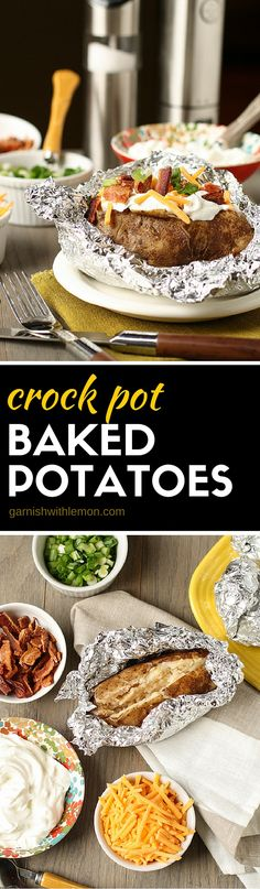 Need a quick and easy dinner idea? Load up your spuds family-style with these simple Crock Pot Baked Potatoes.