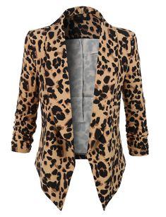 LE3NO Womens Leopard Print 3/4 Sleeve Draped Open Front Blazer