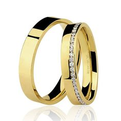 Par de Alianças de Casamento Reta com Diamantes