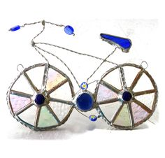 Bicycle Suncatcher Stained Glass Bike Cyclist Cycle - The British Craft House Tire Tread, Bike Frame, Unique Presents, Beaded Flowers, Suncatchers, Pretty Flowers, Home Crafts, Clear Glass, Iridescent