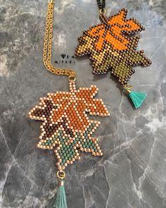 Leaf pattern 🍂🍁🍁 ✩ ✩ ✩ ✩ ✩ ✩ ✩ ✩ ✩ ✩ ✩ ✩ ✩ œ . Beading Tutorials, Beading Patterns, Diy Fashion Accessories, Jewelry Accessories, Tear, Bijoux Diy, Diy Jewelry Making, Diy Earrings, Bead Crafts