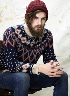 Norwegian wool sweater, wool knit cap. Worn by model Fabian Nordstrom.