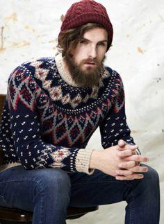 Norwegian wool sweater, wool knit cap. Worn by model Fabian Nordstrom.