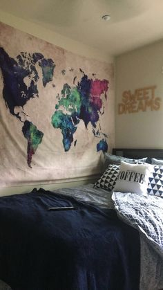 Watercolor world map tapestry bedroom