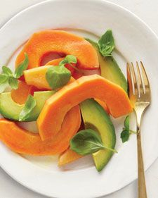 "Tropical Salad-Avocado is rich in the healthful fats that can raise levels of HDL (""good"") cholesterol. Cantaloupe and papaya are high in potassium, which helps regulate blood pressure."