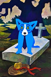 "In George Rodrigue's latest painting, He Stopped Loving Her Today, Jolie Blonde's hat sits alongside an above-ground tomb, the same type of vault his father installed in New Iberia, Louisiana as part of the family business.      ""I wanted to paint a tribute to George Jones (1931-2013),"" explains Rodrigue."