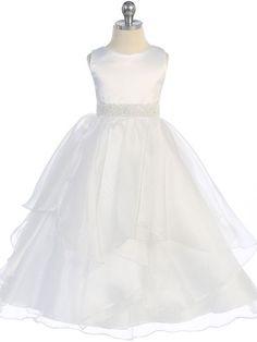 Amazing White Satin and Organza Layered Flower Girl Dress
