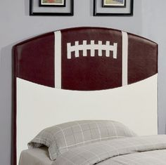 """Kids Youth Bedroom Ultra Fun Twin Size Sports Football Headboard In Brown White Finish. (Item# Vista Furniture CF460169) by Coaster Home Furnishings. $199.50. Kids youth bedroom ultra fun twin size sports football headboard in brown white finish. (item# vista furniture cf460169) headboard: 44"""" l 2"""" w 50"""" h. Create a fun look in the youth bedroom in your home with a sports headboard. This twin sized headboard is available in a basketball, baseball, soccer ball, and football design..."""