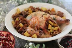 #paleo #paleomg Sweet Potato & Apple Stuffed Cornish Hens with Pomegranate Glaze