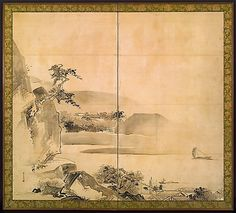 Landscape by Watanabe Shiko, Japanese (1683-1756) two panel folding screen, ink on paper, Edo period, first half of the 18th century.