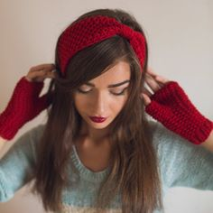 Knitting Patterns Headband Hand Knit Headband Ear Warmer Red Blue Headband for women Warm Winter Spring Fall Turban Cozy Ear Wa Red Headband, Knitted Headband, Knitted Hats, Hand Knitting, Knitting Patterns, Red Mittens, Knit Crochet, Crochet Hats, Estilo Hippie