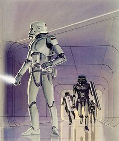"Armed Stormtroopers on the floating prison planet of Alderaan"" Star Wars Concept Art (Detail) by Ralph McQuarrie Taken from Star Wars Art: Concept"