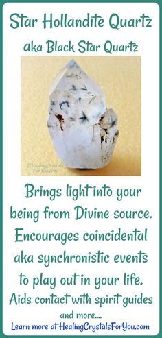 Hollandite Quartz brings light into your being from the Divine source. Encourages powerful coincidence or synchronistic events to play out in your life, aids contact with spirit guides.