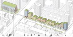 After. The same site could include a parking garage and multiuse development.