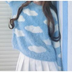 Kawaii cloud sweater ($35) ❤ liked on Polyvore featuring tops, sweaters, blue sweater, fuzzy sweater and blue top