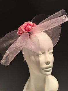 Pink Fascinator Derby Party Hat Wedding Easter Rose