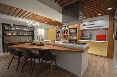 Casa Cor Rio Grande do Sul - Home Chef por Hellen Zanoletti Firmino e Renato Cesar Ferrari. Kitchen Island Table, Kitchen Dining, Kitchen Decor, Cool Room Designs, Sweet Home, Hot House, Home Chef, Modern Kitchen Design, Kitchen Colors