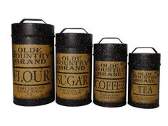 New Primitive OLD COUNTRY BLACK CANISTER SET Kitchen Flour Sugar Coffee Tea #OWI