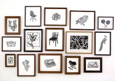 Black and white illustrations and a variety of frames. Simple, yet effective.