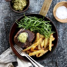 STEAK FRITES WITH BISTRO BUTTER. You don't have to go out this week to enjoy a great steak. For this recipe you pan fry 200g (per person) of rump steak, top with mustard, parley and lemon butter and serve with oven roasted potato chips and a peppery rocket salad. 35 Minutes. Cook a restaurant quality steak at home.