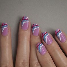 #manimonday stripes with @JINsoon #KookieWhite #PoppyBlue #CherryBerry on #FrenchLilac #nailpolish #JINsoon #nails #nailart #manicure #JINstagram Web Instagram User » Collecto